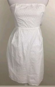 Old Navy White Crochet Floral Dress Strapless sz12